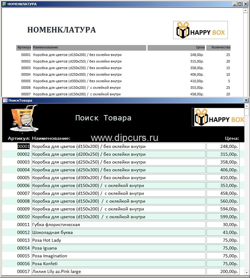 Базы данных dipcurs Форма отображения товаров в базе данных курсовой работы