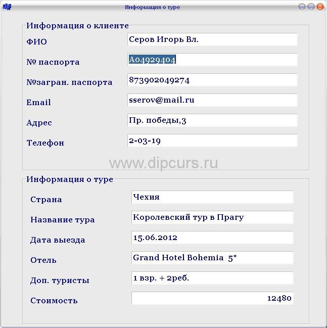 Базы данных dipcurs Окно информации о туре