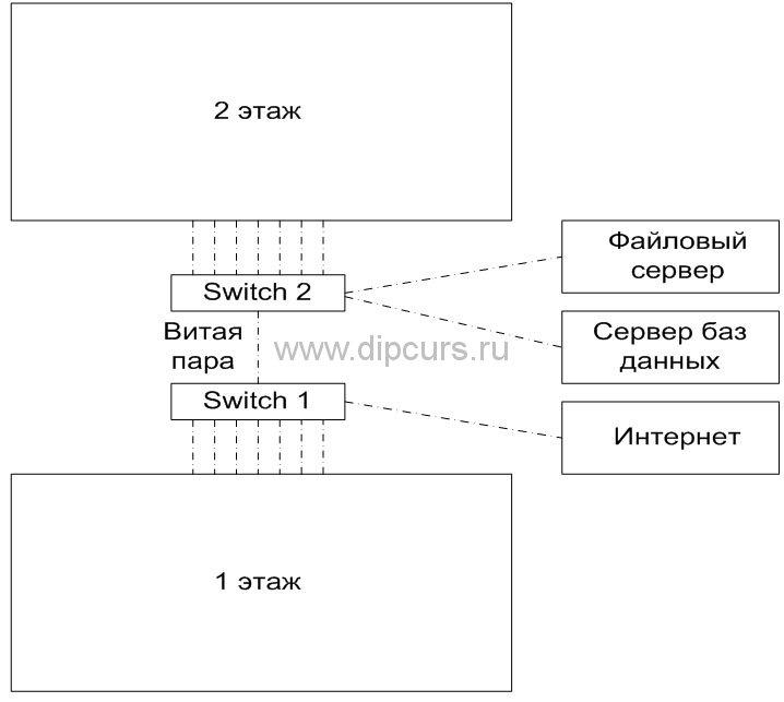 Компьютерные сети dipcurs Схема спланированной компьютерной сети дипломной работы