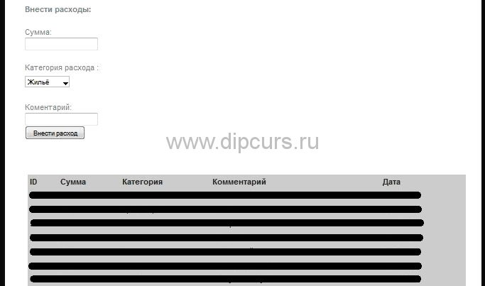 php dipcurs Окно добавления и управления расходами семейного бюджета дипломной работы